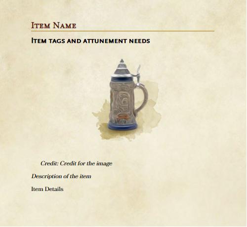 GM binder item template